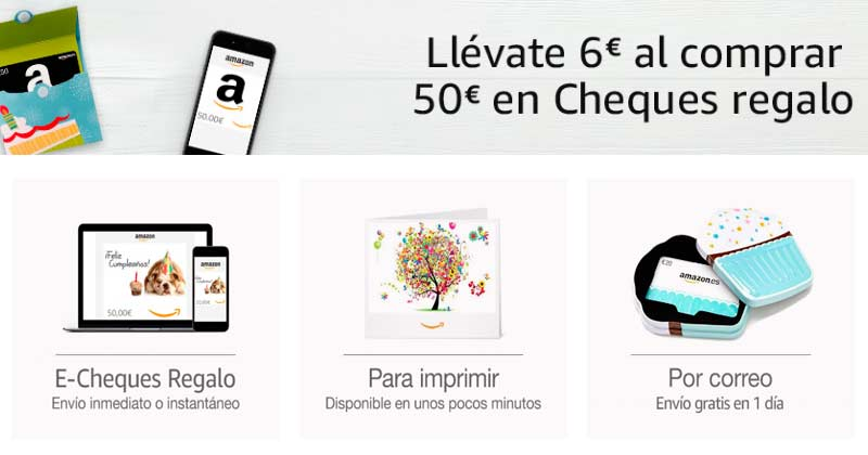 Llévate 6 € de regalo por cada cheque regalo de Amazon de 50 €